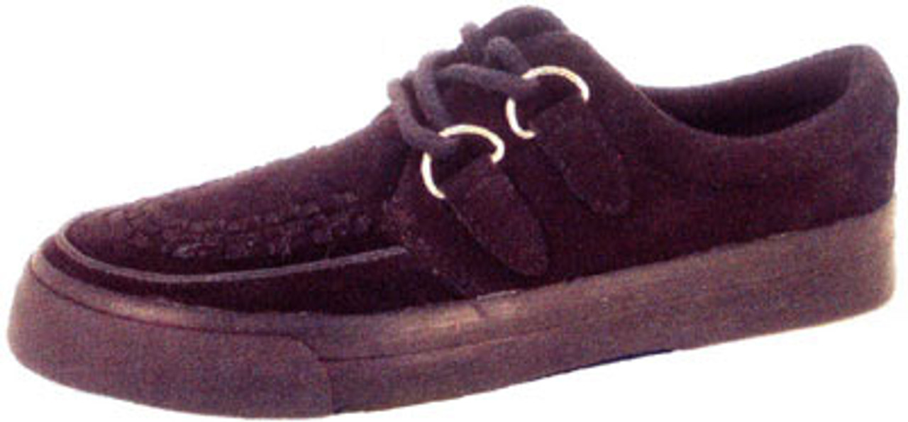 Black Suede with Black Interlace Creeper Sneaker-A6061