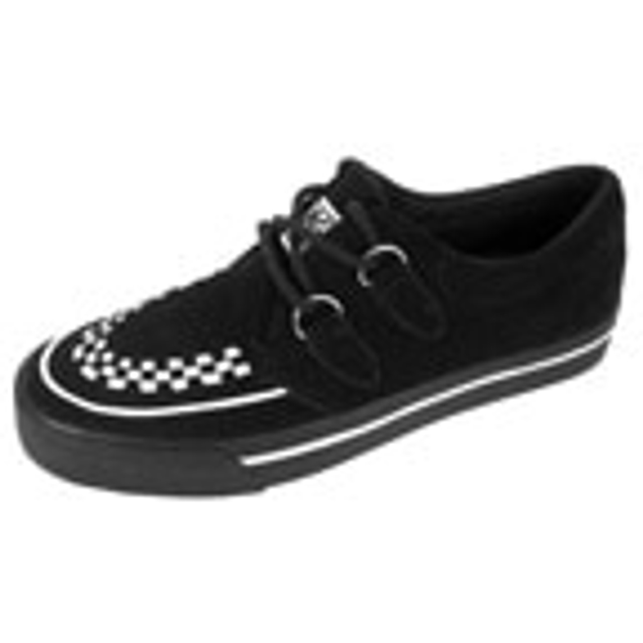 Black Suede with White Interlace Creeper Sneaker- A6293