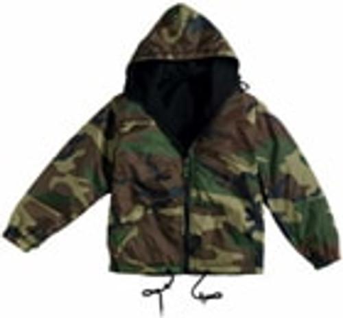 Woodland Camouflage Reversible Nylon Jacket W/Hood