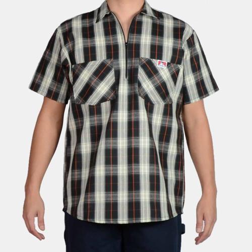 Ben Davis® Short Sleeve Plaid, 1/2 Zip
