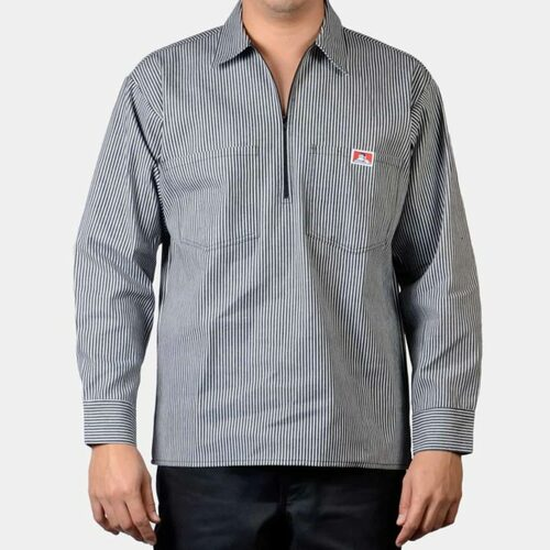 Ben Davis® Poly/Cotton Long Sleeve Striped, 1/2 Zip