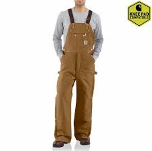 CARHARTT DUCK ZIP-TO-THIGH BIB OVERALL/QUILT LINED-R41