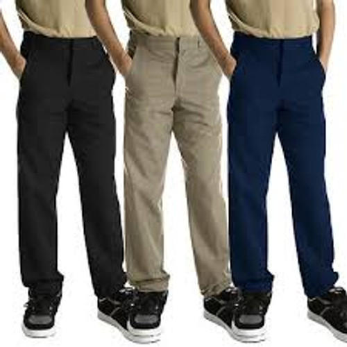 Dickies Boys' Classic Fit Straight Leg Flat Front Pants-KP123