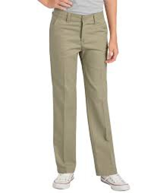 DICKIES GIRLS' FLEXWAIST® SLIM FIT STRAIGHT LEG FLAT FRONT PANTS-KP570