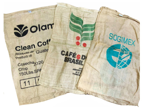 Flower Pot Nursery Assorted Coffee Bean Burlap Sack Bag Reclaimed Hessian 3 Pack