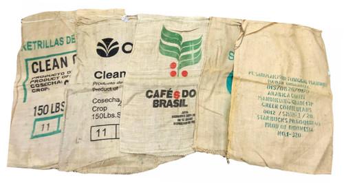 Flower Pot Nursery Assorted Coffee Bean Burlap Sack Bag Reclaimed Hessian 5 Pack