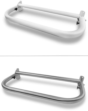 """24""""x 12"""" Locking Extension Assistance Grab Bar  White and Stainless steel"""