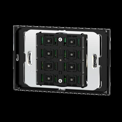 Pushbutton 71 series for rectangular 3-module box, 'NF version, white housing - blue/green LED