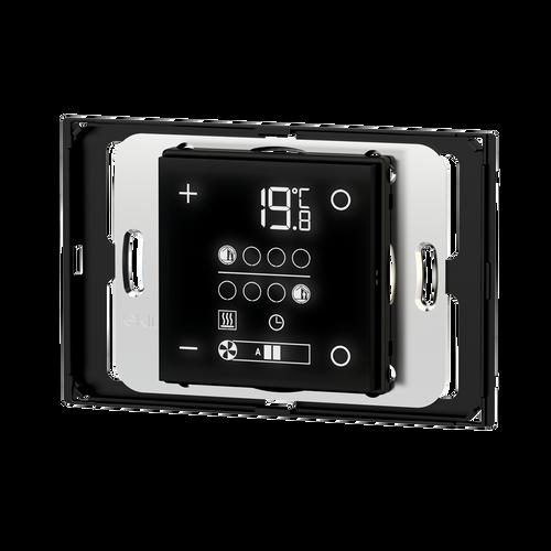 E72 room temperature controller for rectangular 3-module box, 'NF version, white housing