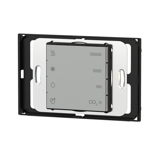 Multisensor for T, R.H. and CO2 equivalent with regulator, rectangular wall-box