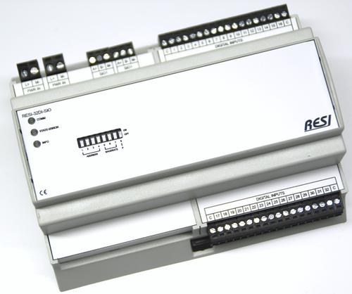 BIG IO module, 8TE, module with 32 digital inputs for 12-48V= signals, RS485, MODBUS/RTU slave, ASCII text commands, 12-48V=