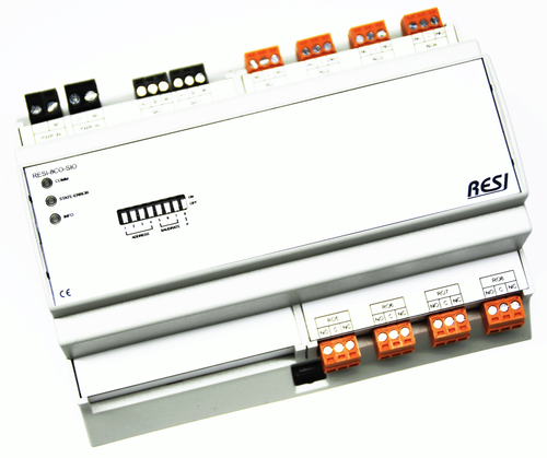 BIG IO module, 8TE, module with 8 digital outputs with changeover relays. contact rating max. 250Vac, 30Vdc, 8A, RS485, MODBUS/RTU slave, ASCII text commands, 12-48V=