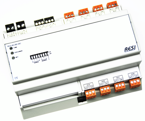 BIG IO module, 8TE, module with 8 digital outputs with bistable changeover relays. contact rating max. 250Vac, 30Vdc, 8A, RS485, MODBUS/RTU slave, ASCII text commands, 12-48V=