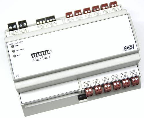 BIG IO module, 8TE, module with 12 analogue inputs for -10Vdc..+10Vdc or 0..10Vdc voltage signals, RS485, MODBUS/RTU slave, ASCII text commands, 12-48V=