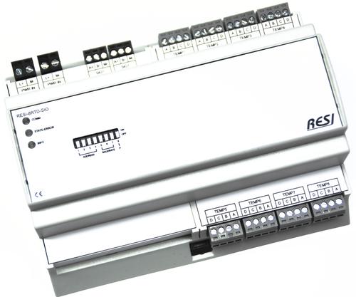 BIG IO module, 8TE, module with 8 temperature inputs for RTD sensor elements: PT100, PT200, PT500, PT1000, NI120, NI1000-DIN43760. 2 wire, 3 wire or 4 wire connection of sensorelement, RS485, MODBUS/RTU slave, ASCII text commands, 12-48V=
