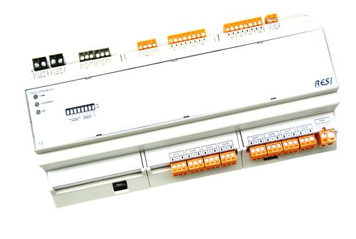 BIG IO module, 8TE, module for 8 shutters or blinds and 20 digital inputs, RS485, MODBUS/RTU slave, 12-48V=