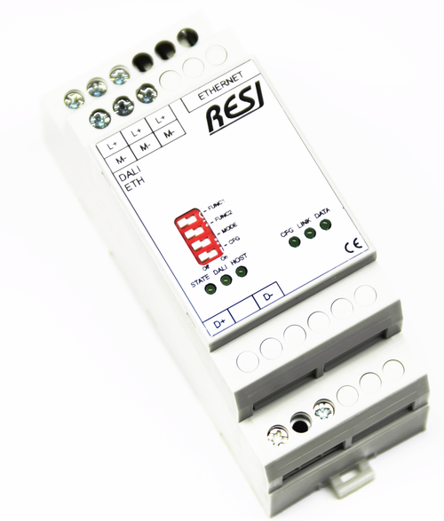 Ethernet gateway DALI-MODBUS/TCP server, DALI 1.0+2.0 protocol, max. 64 DALI short addresses