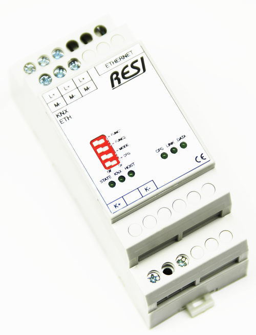 Ethernet gateway KNX-MODBUS/TCP server, KNX TP protocol, mapping of max. 150 MODBUS register