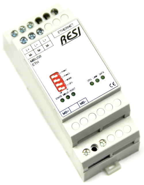 Ethernet gateway MBUS-MODBUS/TCP server, max. 8 meter, max. 3000m cable length
