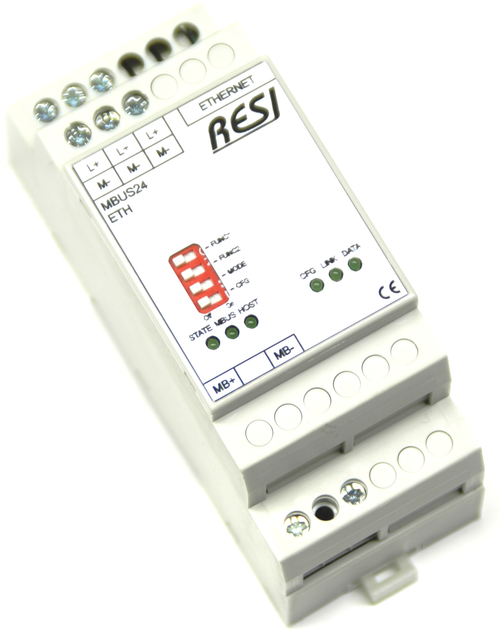 Ethernet gateway MBUS-MODBUS/TCP server, max. 24 meter, max. 3000m cable length