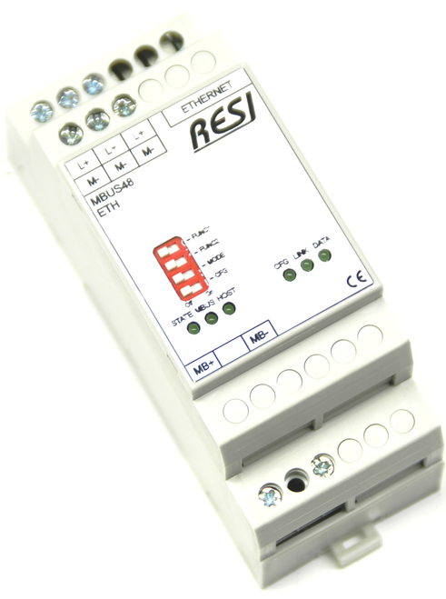 Ethernet gateway MBUS-MODBUS/TCP server, max. 48 meter, max. 3000m cable length