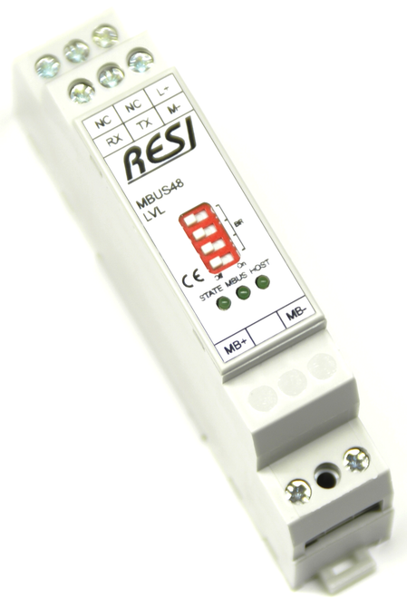 Level converter MBUS-RS232, LED indicators, max. 48 meter, max. 3000m cable length