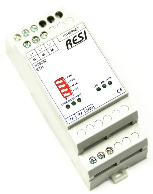 Ethernet gateway RS232-SOCKET, bidirectional transport of plain socket data to serial RS232 interface, MODBUS/TCP server to MODBUS/RTU master converter