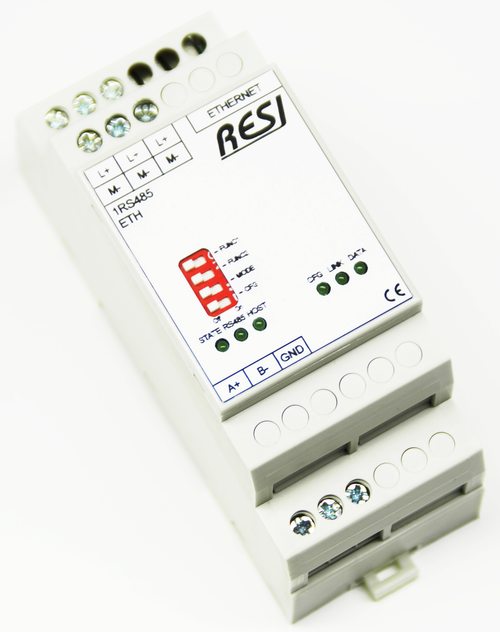 Ethernet gateway RS485-SOCKET, bidirectional transport of plain socket data to serial RS485 interface with automatic direction control, MODBUS/TCP server to MODBUS/RTU masterconverter