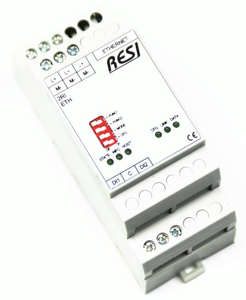 Ultra slim IO module, 2 digital inputs for 10-250V~= signals, MODBUS/TCP server, ASCII Protocol, Ethernet 10/100MBit, 12..48V=