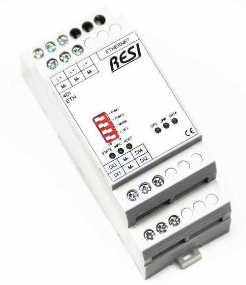 Ultra slim IO module, 4 digital inputs for 12-48V= signals, MODBUS/TCP server, ASCII Protocol, Ethernet 10/100MBit, 12..48V=