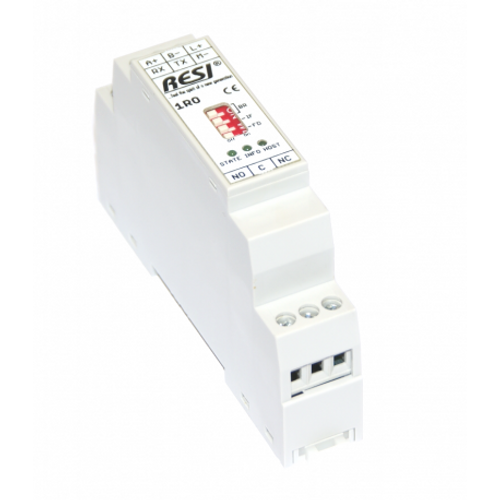 Ultra slim IO module, 1 relay output with changeover contacts for 250Vac or 30Vdc with max. 8A,MODBUS/RTU Slave or ASCII protocol, RS232 or RS485, 12..48V=