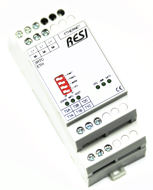 Ultra slim IO module, 2 temperature inputs for RTD sensors,configuration for each channel: RTD sensor type: PT100, PT200, PT500, PT1000, NI120, NI1000-DIN43760, MODBUS/TCPserver, ASCII text commands, Ethernet 10/100MBit, 12..48V=