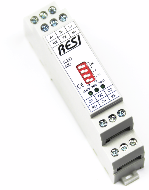Ultra slim IO module, control LED stripes with three individual dimmable channels, MODBUS/RTU Slave or ASCII protocol, RS232 or RS485, 12..48V=
