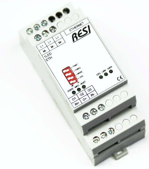 Ultra slim IO module, control LED stripes with three individual dimmable channels, MODBUS/TCP server, ASCII Protocol, Ethernet 10/100MBit, 12..48V=