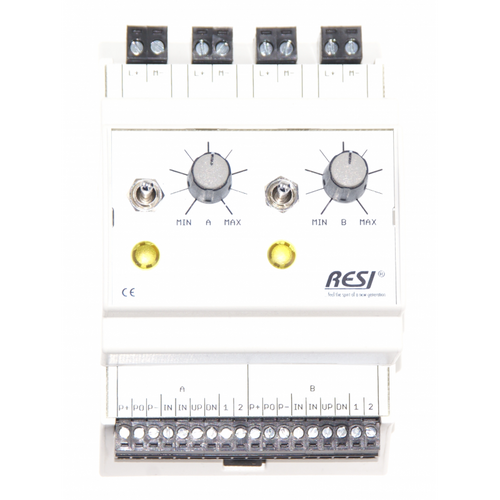 Control and signal module, DIN ISO16484, VDI 3814 manual operation interface, 2 potentiometer 10kOhm, 2 switches: UP-CENTER-DOWN, 2 LEDs in YELLOW