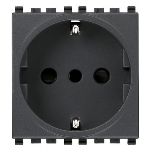 Socket - power outlet - Type F (DE)  250V 16A - black