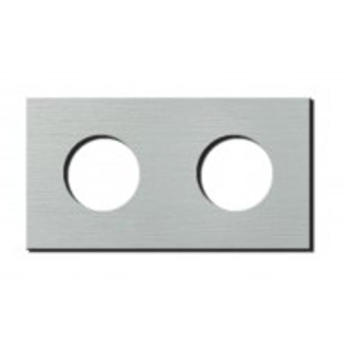 Socket - 2 gang - power outlet - brushed aluminium