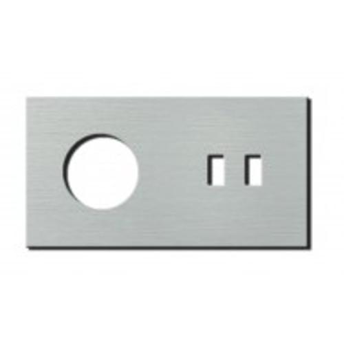 Socket - 2 gang - power + USB outlet - brushed aluminium