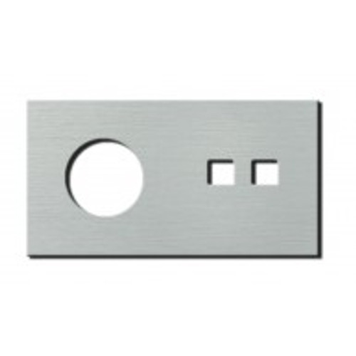 Socket - 2 gang - power + RJ45 outlet - brushed aluminium
