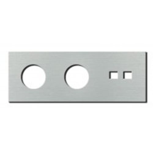 Socket - 3 gang - power + RJ45 outlet - brushed aluminium