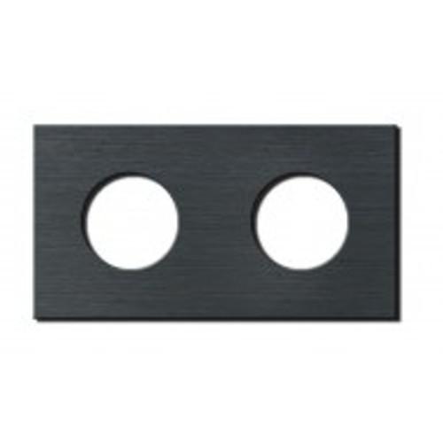 Socket - 2 gang - power outlet - brushed dark grey
