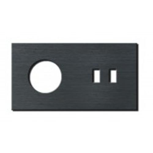 Socket - 2 gang - power + USB outlet - brushed dark grey