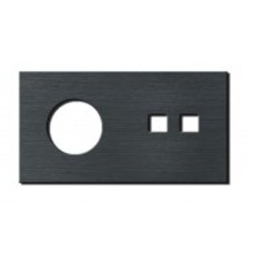 Socket - 2 gang - power + RJ45 outlet - brushed dark grey