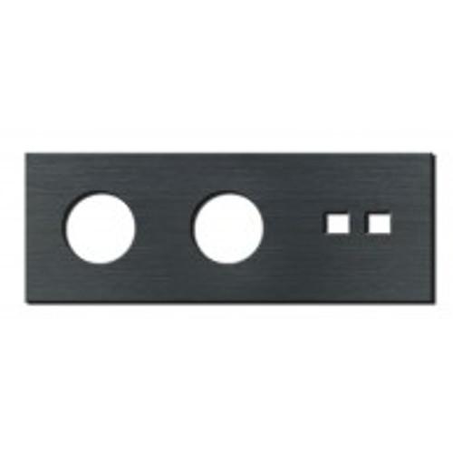 Socket - 3 gang - power + RJ45 outlet - brushed dark grey