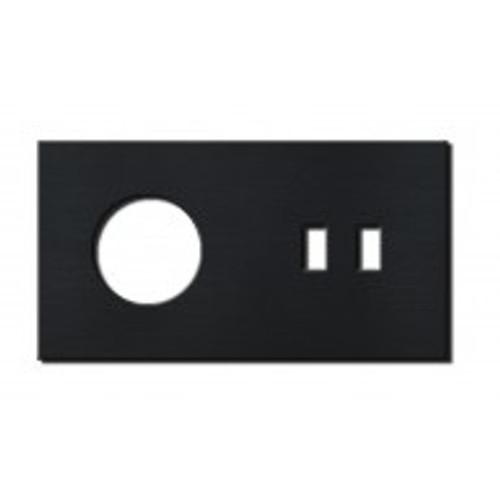 Socket - 2 gang - power + USB outlet - brushed black