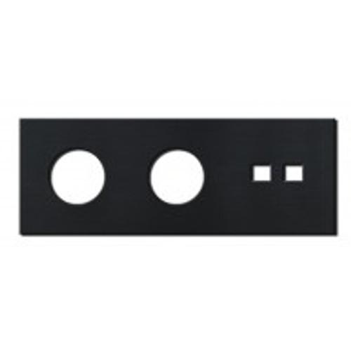 Socket - 3 gang - power + RJ45 outlet - brushed black