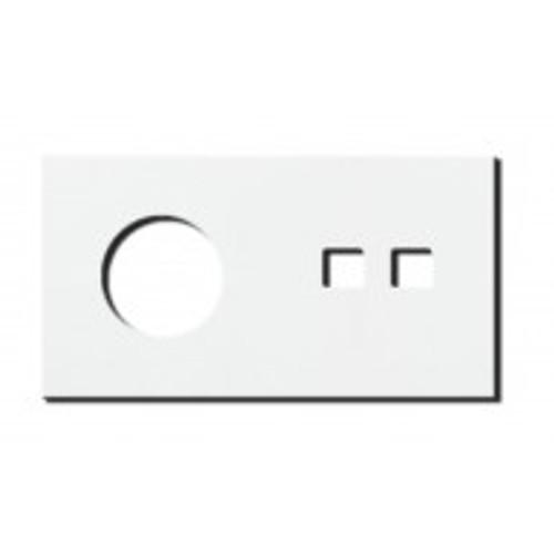 Socket - 2 gang - power + RJ45 outlet - satin white