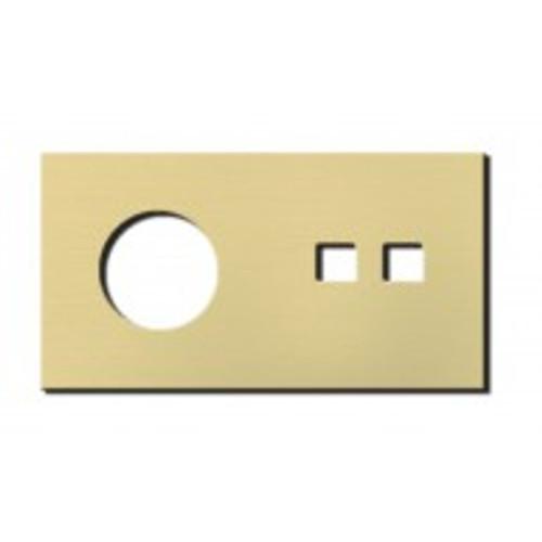 Socket - 2 gang - power + RJ45 outlet - brushed brass
