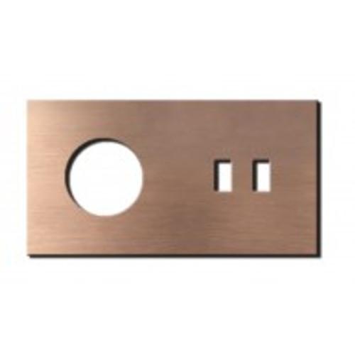 Socket - 2 gang - power + USB outlet - soft copper
