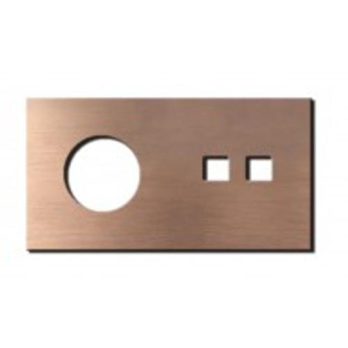 Socket - 2 gang - power + RJ45 outlet - soft copper